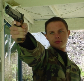 SSgt Aguryanov on the firing line with his 1911 Service Pistol