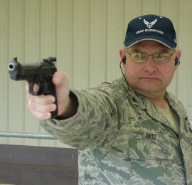 Col Hays on the firing line with his M9