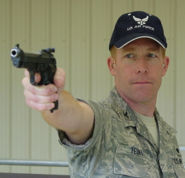 Col Teskey with his 1911 Wadcutter Pistol